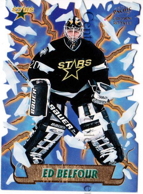 1997-98 Crown Royale Freeze Out Die-Cuts #6 Ed Belfour<br/>1 In Stock - $10.00 each - <a href=https://centericecollectibles.foxycart.com/cart?name=1997-98%20Crown%20Royale%20Freeze%20Out%20Die-Cuts%20%236%20Ed%20Belfour...&quantity_max=1&price=$10.00&code=218806 class=foxycart> Buy it now! </a>