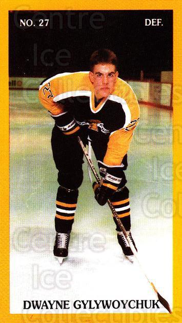 1989-90 Brandon Wheat Kings #19 Dwayne Gylywoychuk<br/>2 In Stock - $3.00 each - <a href=https://centericecollectibles.foxycart.com/cart?name=1989-90%20Brandon%20Wheat%20Kings%20%2319%20Dwayne%20Gylywoyc...&quantity_max=2&price=$3.00&code=21881 class=foxycart> Buy it now! </a>