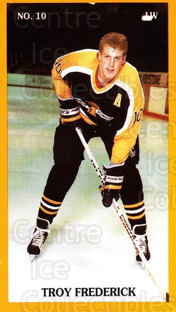1989-90 Brandon Wheat Kings #2 Troy Frederick<br/>2 In Stock - $3.00 each - <a href=https://centericecollectibles.foxycart.com/cart?name=1989-90%20Brandon%20Wheat%20Kings%20%232%20Troy%20Frederick...&quantity_max=2&price=$3.00&code=21882 class=foxycart> Buy it now! </a>