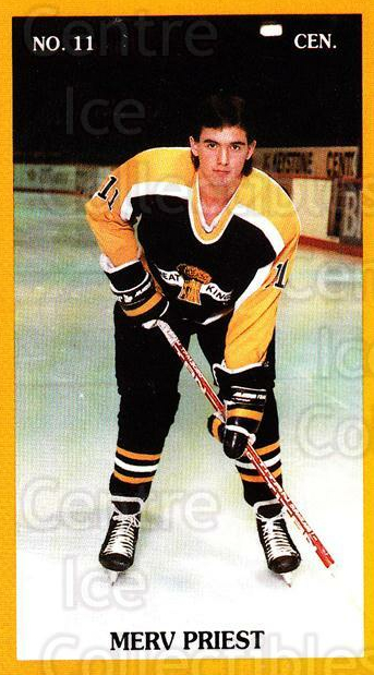 1989-90 Brandon Wheat Kings #22 Merv Priest<br/>2 In Stock - $3.00 each - <a href=https://centericecollectibles.foxycart.com/cart?name=1989-90%20Brandon%20Wheat%20Kings%20%2322%20Merv%20Priest...&quantity_max=2&price=$3.00&code=21885 class=foxycart> Buy it now! </a>