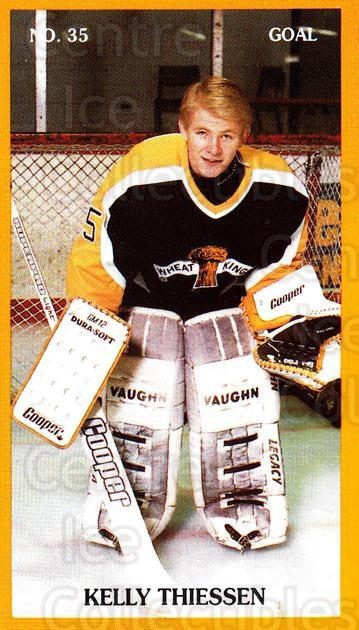 1989-90 Brandon Wheat Kings #3 Kelly Thiessen<br/>3 In Stock - $3.00 each - <a href=https://centericecollectibles.foxycart.com/cart?name=1989-90%20Brandon%20Wheat%20Kings%20%233%20Kelly%20Thiessen...&quantity_max=3&price=$3.00&code=21887 class=foxycart> Buy it now! </a>