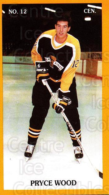 1989-90 Brandon Wheat Kings #4 Pryce Wood<br/>1 In Stock - $3.00 each - <a href=https://centericecollectibles.foxycart.com/cart?name=1989-90%20Brandon%20Wheat%20Kings%20%234%20Pryce%20Wood...&quantity_max=1&price=$3.00&code=21888 class=foxycart> Buy it now! </a>