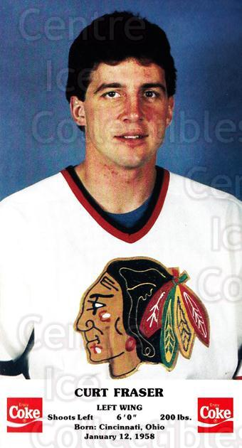 1986-87 Chicago Blackhawks Postcards Coke #5 Curt Fraser<br/>1 In Stock - $3.00 each - <a href=https://centericecollectibles.foxycart.com/cart?name=1986-87%20Chicago%20Blackhawks%20Postcards%20Coke%20%235%20Curt%20Fraser...&quantity_max=1&price=$3.00&code=219017 class=foxycart> Buy it now! </a>