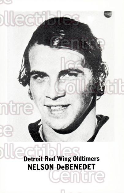 1981-82 Detroit Red Wings Oldtimers Postcards #7 Nelson DeBenedet<br/>1 In Stock - $3.00 each - <a href=https://centericecollectibles.foxycart.com/cart?name=1981-82%20Detroit%20Red%20Wings%20Oldtimers%20Postcards%20%237%20Nelson%20DeBenede...&quantity_max=1&price=$3.00&code=219040 class=foxycart> Buy it now! </a>