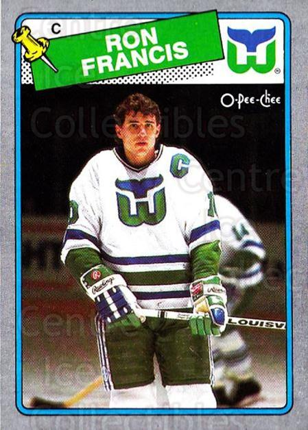 1988-89 O-Pee-Chee Box Bottoms #A Ron Francis<br/>5 In Stock - $2.00 each - <a href=https://centericecollectibles.foxycart.com/cart?name=1988-89%20O-Pee-Chee%20Box%20Bottoms%20%23A%20Ron%20Francis...&price=$2.00&code=21931 class=foxycart> Buy it now! </a>