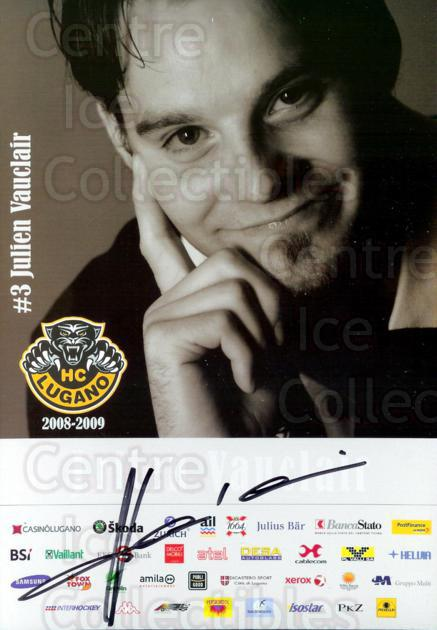 2008-09 Swiss HC Lugano Postcards #1 Julien Vauclair<br/>2 In Stock - $3.00 each - <a href=https://centericecollectibles.foxycart.com/cart?name=2008-09%20Swiss%20HC%20Lugano%20Postcards%20%231%20Julien%20Vauclair...&quantity_max=2&price=$3.00&code=219472 class=foxycart> Buy it now! </a>