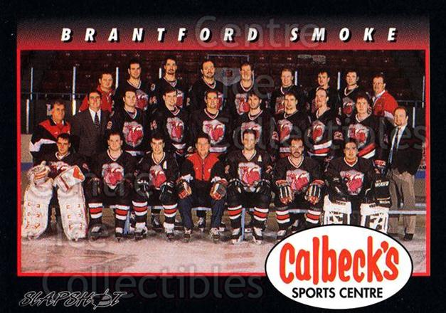 1994-95 Brantford Smoke #23 Brantford Smoke, Team Photo<br/>4 In Stock - $2.00 each - <a href=https://centericecollectibles.foxycart.com/cart?name=1994-95%20Brantford%20Smoke%20%2323%20Brantford%20Smoke...&price=$2.00&code=2210 class=foxycart> Buy it now! </a>