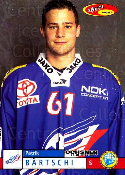 2002-03 Swiss Ice Hockey Cards #89 Patrik Bartschi<br/>2 In Stock - $2.00 each - <a href=https://centericecollectibles.foxycart.com/cart?name=2002-03%20Swiss%20Ice%20Hockey%20Cards%20%2389%20Patrik%20Bartschi...&price=$2.00&code=221134 class=foxycart> Buy it now! </a>
