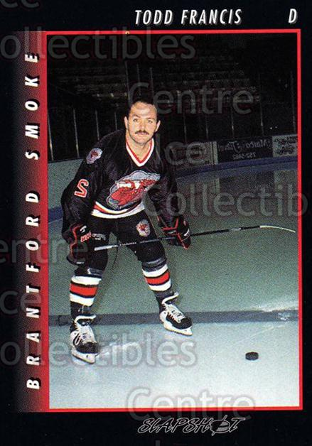 1994-95 Brantford Smoke #3 Todd Francis<br/>7 In Stock - $3.00 each - <a href=https://centericecollectibles.foxycart.com/cart?name=1994-95%20Brantford%20Smoke%20%233%20Todd%20Francis...&quantity_max=7&price=$3.00&code=2213 class=foxycart> Buy it now! </a>