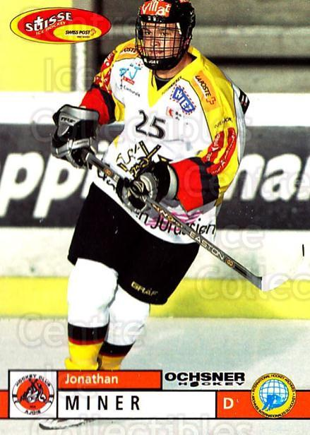2002-03 Swiss Ice Hockey Cards #357 Jonathan Miner<br/>2 In Stock - $2.00 each - <a href=https://centericecollectibles.foxycart.com/cart?name=2002-03%20Swiss%20Ice%20Hockey%20Cards%20%23357%20Jonathan%20Miner...&quantity_max=2&price=$2.00&code=221402 class=foxycart> Buy it now! </a>