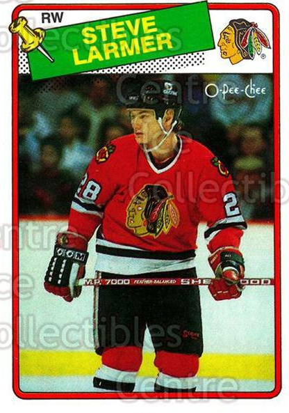 1988-89 O-Pee-Chee #154 Steve Larmer<br/>10 In Stock - $1.00 each - <a href=https://centericecollectibles.foxycart.com/cart?name=1988-89%20O-Pee-Chee%20%23154%20Steve%20Larmer...&quantity_max=10&price=$1.00&code=22185 class=foxycart> Buy it now! </a>