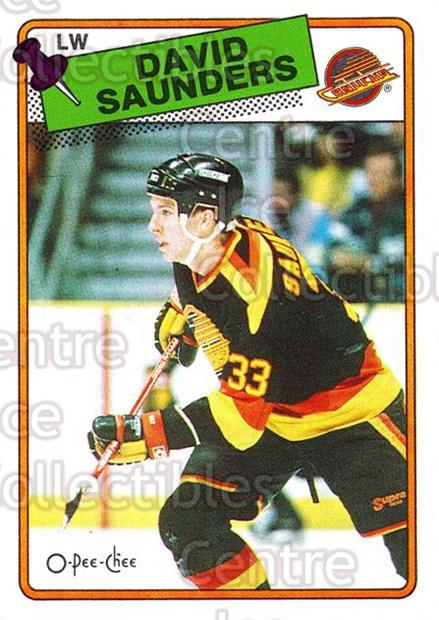 1988-89 O-Pee-Chee #248 David Saunders<br/>9 In Stock - $1.00 each - <a href=https://centericecollectibles.foxycart.com/cart?name=1988-89%20O-Pee-Chee%20%23248%20David%20Saunders...&quantity_max=9&price=$1.00&code=22276 class=foxycart> Buy it now! </a>