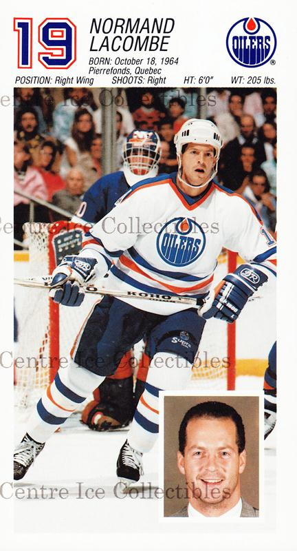 1988-89 Edmonton Oilers Team Issue #15 Normand Lacombe<br/>1 In Stock - $3.00 each - <a href=https://centericecollectibles.foxycart.com/cart?name=1988-89%20Edmonton%20Oilers%20Team%20Issue%20%2315%20Normand%20Lacombe...&quantity_max=1&price=$3.00&code=22281 class=foxycart> Buy it now! </a>