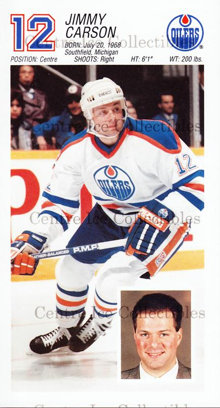 1988-89 Edmonton Oilers Team Issue #5 Jimmy Carson<br/>1 In Stock - $3.00 each - <a href=https://centericecollectibles.foxycart.com/cart?name=1988-89%20Edmonton%20Oilers%20Team%20Issue%20%235%20Jimmy%20Carson...&quantity_max=1&price=$3.00&code=22292 class=foxycart> Buy it now! </a>