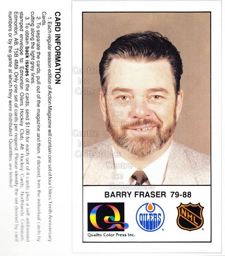 1988-89 Edmonton Oilers Tenth Anniversary #158 Barry Fraser<br/>12 In Stock - $3.00 each - <a href=https://centericecollectibles.foxycart.com/cart?name=1988-89%20Edmonton%20Oilers%20Tenth%20Anniversary%20%23158%20Barry%20Fraser...&quantity_max=12&price=$3.00&code=22335 class=foxycart> Buy it now! </a>