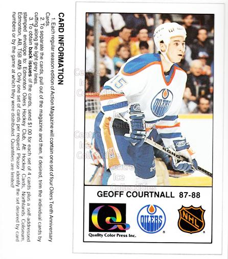 1988-89 Edmonton Oilers Tenth Anniversary #88 Geoff Courtnall<br/>8 In Stock - $3.00 each - <a href=https://centericecollectibles.foxycart.com/cart?name=1988-89%20Edmonton%20Oilers%20Tenth%20Anniversary%20%2388%20Geoff%20Courtnall...&quantity_max=8&price=$3.00&code=22395 class=foxycart> Buy it now! </a>