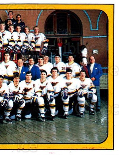 1988-89 Panini Stickers #113 St. Louis Blues, Team Photo<br/>5 In Stock - $1.00 each - <a href=https://centericecollectibles.foxycart.com/cart?name=1988-89%20Panini%20Stickers%20%23113%20St.%20Louis%20Blues...&price=$1.00&code=22419 class=foxycart> Buy it now! </a>