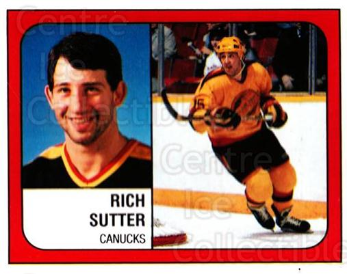 1988-89 Panini Stickers #142 Rich Sutter<br/>5 In Stock - $1.00 each - <a href=https://centericecollectibles.foxycart.com/cart?name=1988-89%20Panini%20Stickers%20%23142%20Rich%20Sutter...&quantity_max=5&price=$1.00&code=22448 class=foxycart> Buy it now! </a>