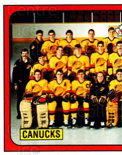 1988-89 Panini Stickers #144 Vancouver Canucks, Team Photo<br/>4 In Stock - $1.00 each - <a href=https://centericecollectibles.foxycart.com/cart?name=1988-89%20Panini%20Stickers%20%23144%20Vancouver%20Canuc...&price=$1.00&code=22450 class=foxycart> Buy it now! </a>
