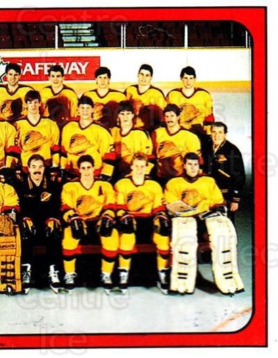 1988-89 Panini Stickers #145 Vancouver Canucks, Team Photo<br/>4 In Stock - $1.00 each - <a href=https://centericecollectibles.foxycart.com/cart?name=1988-89%20Panini%20Stickers%20%23145%20Vancouver%20Canuc...&price=$1.00&code=22451 class=foxycart> Buy it now! </a>