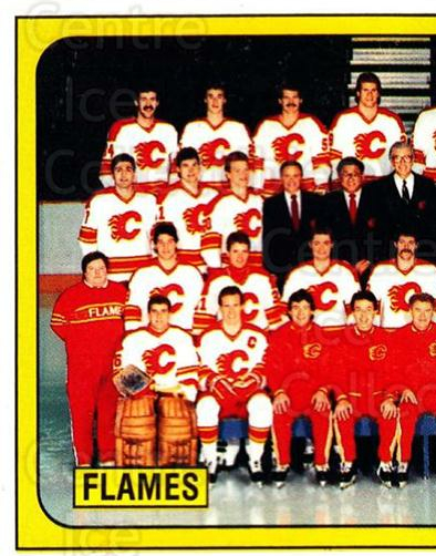 1988-89 Panini Stickers #16 Calgary Flames, Team Photo<br/>4 In Stock - $1.00 each - <a href=https://centericecollectibles.foxycart.com/cart?name=1988-89%20Panini%20Stickers%20%2316%20Calgary%20Flames,...&price=$1.00&code=22466 class=foxycart> Buy it now! </a>