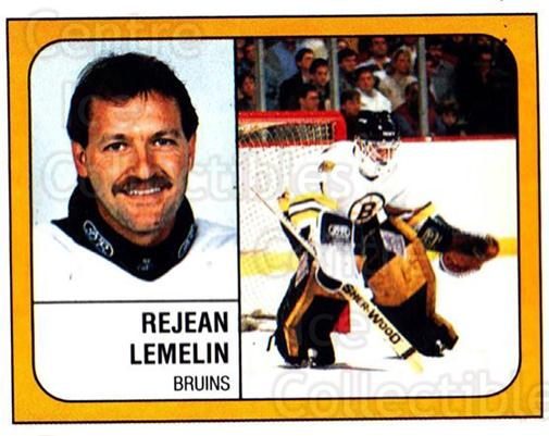 1988-89 Panini Stickers #203 Rejean Lemelin<br/>4 In Stock - $1.00 each - <a href=https://centericecollectibles.foxycart.com/cart?name=1988-89%20Panini%20Stickers%20%23203%20Rejean%20Lemelin...&price=$1.00&code=22509 class=foxycart> Buy it now! </a>
