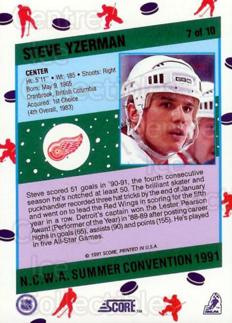 1991 Score NCWA Convention #7 Steve Yzerman<br/>12 In Stock - $2.00 each - <a href=https://centericecollectibles.foxycart.com/cart?name=1991%20Score%20NCWA%20Convention%20%237%20Steve%20Yzerman...&price=$2.00&code=225992 class=foxycart> Buy it now! </a>
