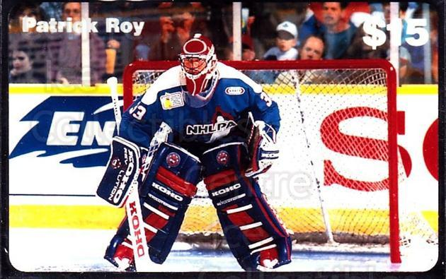 1995 NHLPA Phone Cards #4 Patrick Roy<br/>2 In Stock - $10.00 each - <a href=https://centericecollectibles.foxycart.com/cart?name=1995%20NHLPA%20Phone%20Cards%20%234%20Patrick%20Roy...&quantity_max=2&price=$10.00&code=225999 class=foxycart> Buy it now! </a>