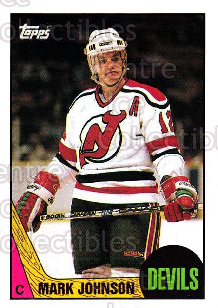 1987-88 Topps #101 Mark Johnson<br/>7 In Stock - $1.00 each - <a href=https://centericecollectibles.foxycart.com/cart?name=1987-88%20Topps%20%23101%20Mark%20Johnson...&quantity_max=7&price=$1.00&code=22640 class=foxycart> Buy it now! </a>