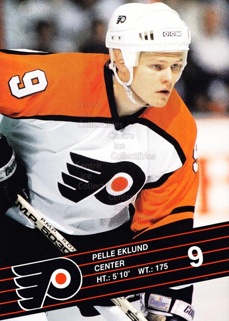 1989-90 Philadelphia Flyers Postcards #9 Pelle Eklund<br/>3 In Stock - $3.00 each - <a href=https://centericecollectibles.foxycart.com/cart?name=1989-90%20Philadelphia%20Flyers%20Postcards%20%239%20Pelle%20Eklund...&quantity_max=3&price=$3.00&code=227123 class=foxycart> Buy it now! </a>
