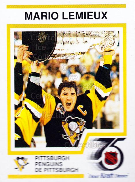 1991-92 Kraft ( Red Backs ) #1 Mario Lemieux, Stanley Cup<br/>1 In Stock - $5.00 each - <a href=https://centericecollectibles.foxycart.com/cart?name=1991-92%20Kraft%20(%20Red%20Backs%20)%20%231%20Mario%20Lemieux,%20...&quantity_max=1&price=$5.00&code=227286 class=foxycart> Buy it now! </a>