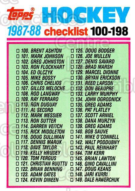1987-88 Topps #198 Checklist<br/>4 In Stock - $1.00 each - <a href=https://centericecollectibles.foxycart.com/cart?name=1987-88%20Topps%20%23198%20Checklist...&quantity_max=4&price=$1.00&code=22738 class=foxycart> Buy it now! </a>