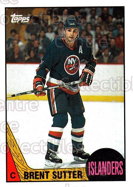 1987-88 Topps #27 Brent Sutter<br/>6 In Stock - $1.00 each - <a href=https://centericecollectibles.foxycart.com/cart?name=1987-88%20Topps%20%2327%20Brent%20Sutter...&quantity_max=6&price=$1.00&code=22746 class=foxycart> Buy it now! </a>