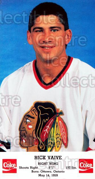 1988-89 Chicago Blackhawks Postcards Coke #21 Rick Vaive<br/>11 In Stock - $3.00 each - <a href=https://centericecollectibles.foxycart.com/cart?name=1988-89%20Chicago%20Blackhawks%20Postcards%20Coke%20%2321%20Rick%20Vaive...&quantity_max=11&price=$3.00&code=22796 class=foxycart> Buy it now! </a>