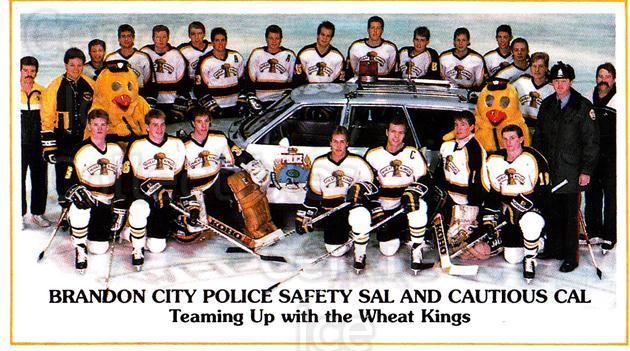 1988-89 Brandon Wheat Kings #17 Brandon Wheat Kings, Team Photo<br/>3 In Stock - $2.00 each - <a href=https://centericecollectibles.foxycart.com/cart?name=1988-89%20Brandon%20Wheat%20Kings%20%2317%20Brandon%20Wheat%20K...&price=$2.00&code=22832 class=foxycart> Buy it now! </a>