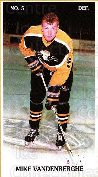 1988-89 Brandon Wheat Kings #4 Mike Vandenberghe<br/>4 In Stock - $3.00 each - <a href=https://centericecollectibles.foxycart.com/cart?name=1988-89%20Brandon%20Wheat%20Kings%20%234%20Mike%20Vandenberg...&quantity_max=4&price=$3.00&code=22838 class=foxycart> Buy it now! </a>