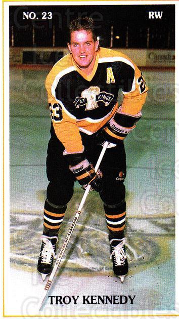 1988-89 Brandon Wheat Kings #9 Troy Kennedy<br/>2 In Stock - $3.00 each - <a href=https://centericecollectibles.foxycart.com/cart?name=1988-89%20Brandon%20Wheat%20Kings%20%239%20Troy%20Kennedy...&quantity_max=2&price=$3.00&code=22843 class=foxycart> Buy it now! </a>