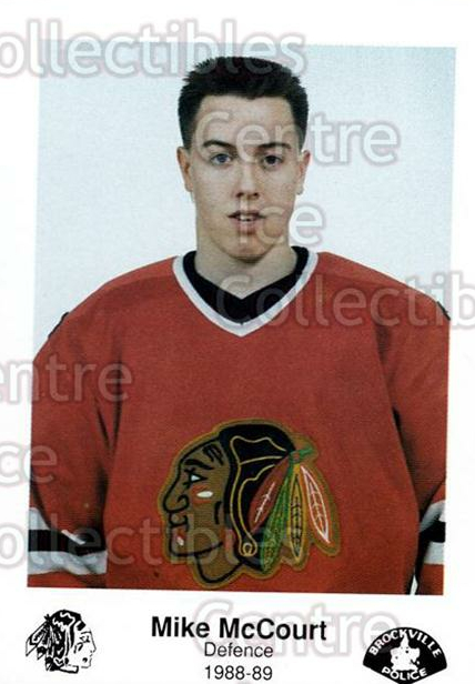 1988-89 Brockville Braves #22 Mike McCourt<br/>4 In Stock - $3.00 each - <a href=https://centericecollectibles.foxycart.com/cart?name=1988-89%20Brockville%20Braves%20%2322%20Mike%20McCourt...&quantity_max=4&price=$3.00&code=22857 class=foxycart> Buy it now! </a>