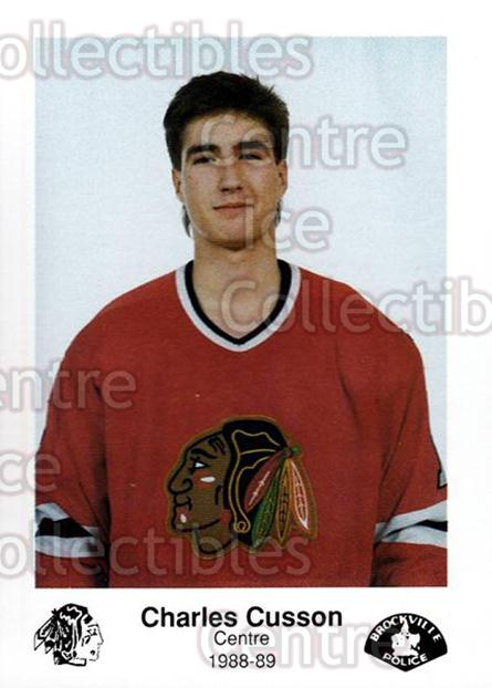 1988-89 Brockville Braves #8 Charles Cusson<br/>4 In Stock - $3.00 each - <a href=https://centericecollectibles.foxycart.com/cart?name=1988-89%20Brockville%20Braves%20%238%20Charles%20Cusson...&quantity_max=4&price=$3.00&code=22866 class=foxycart> Buy it now! </a>