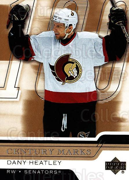 2006-07 Upper Deck Century Marks #3 Dany Heatley<br/>6 In Stock - $2.00 each - <a href=https://centericecollectibles.foxycart.com/cart?name=2006-07%20Upper%20Deck%20Century%20Marks%20%233%20Dany%20Heatley...&quantity_max=6&price=$2.00&code=228754 class=foxycart> Buy it now! </a>