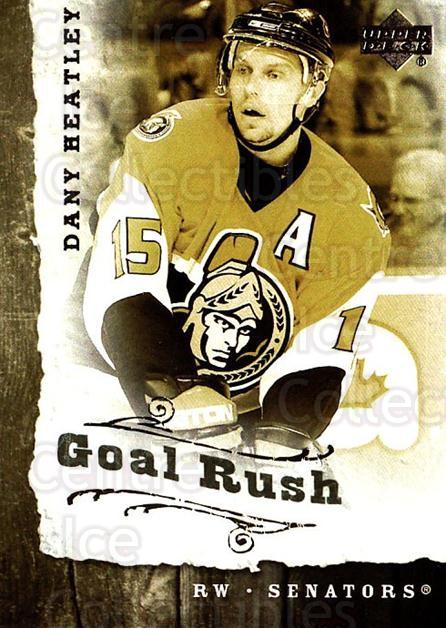 2006-07 Upper Deck Goal Rush #3 Dany Heatley<br/>5 In Stock - $2.00 each - <a href=https://centericecollectibles.foxycart.com/cart?name=2006-07%20Upper%20Deck%20Goal%20Rush%20%233%20Dany%20Heatley...&quantity_max=5&price=$2.00&code=228761 class=foxycart> Buy it now! </a>