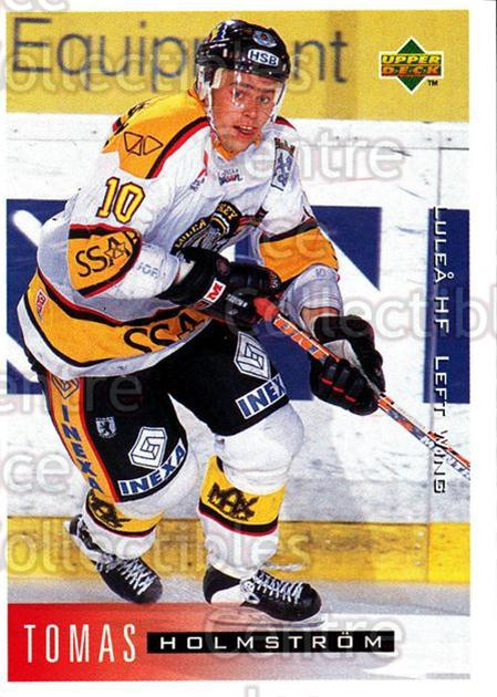1995-96 Swedish Upper Deck #123 Tomas Holmstrom<br/>2 In Stock - $2.00 each - <a href=https://centericecollectibles.foxycart.com/cart?name=1995-96%20Swedish%20Upper%20Deck%20%23123%20Tomas%20Holmstrom...&quantity_max=2&price=$2.00&code=229283 class=foxycart> Buy it now! </a>
