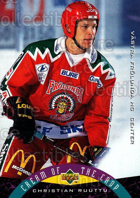 1995-96 Swedish Upper Deck #258 Christian Ruuttu<br/>7 In Stock - $2.00 each - <a href=https://centericecollectibles.foxycart.com/cart?name=1995-96%20Swedish%20Upper%20Deck%20%23258%20Christian%20Ruutt...&quantity_max=7&price=$2.00&code=229290 class=foxycart> Buy it now! </a>