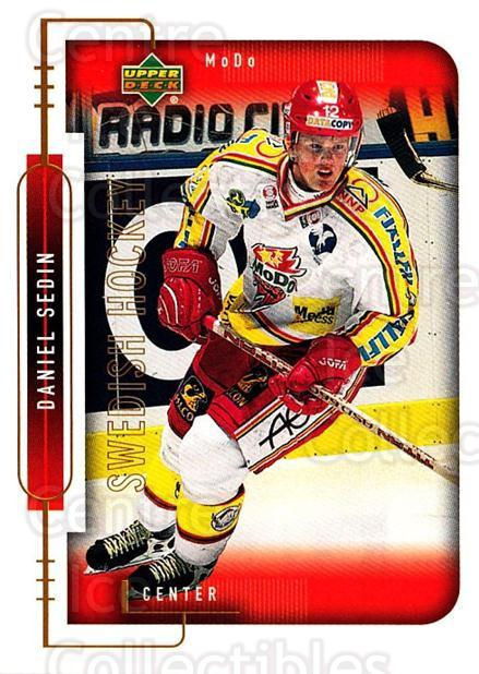 1999-00 Swedish Upper Deck #179 Daniel Sedin<br/>2 In Stock - $2.00 each - <a href=https://centericecollectibles.foxycart.com/cart?name=1999-00%20Swedish%20Upper%20Deck%20%23179%20Daniel%20Sedin...&quantity_max=2&price=$2.00&code=229316 class=foxycart> Buy it now! </a>