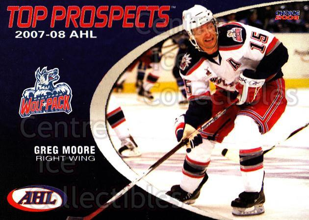 2007-08 AHL Top Prospects #12 Greg Moore<br/>2 In Stock - $3.00 each - <a href=https://centericecollectibles.foxycart.com/cart?name=2007-08%20AHL%20Top%20Prospects%20%2312%20Greg%20Moore...&quantity_max=2&price=$3.00&code=229583 class=foxycart> Buy it now! </a>