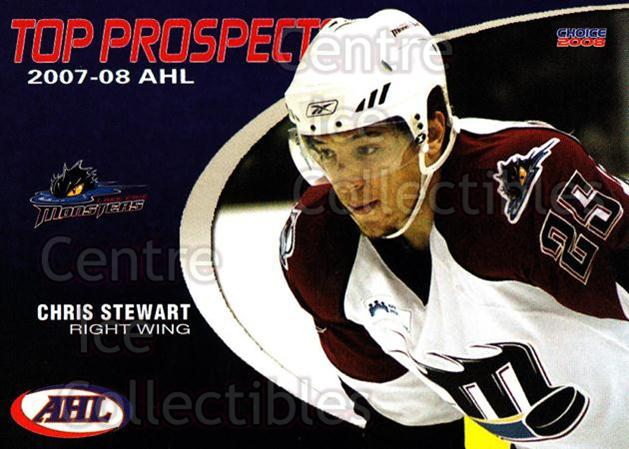2007-08 AHL Top Prospects #20 Chris Stewart<br/>6 In Stock - $3.00 each - <a href=https://centericecollectibles.foxycart.com/cart?name=2007-08%20AHL%20Top%20Prospects%20%2320%20Chris%20Stewart...&quantity_max=6&price=$3.00&code=229591 class=foxycart> Buy it now! </a>