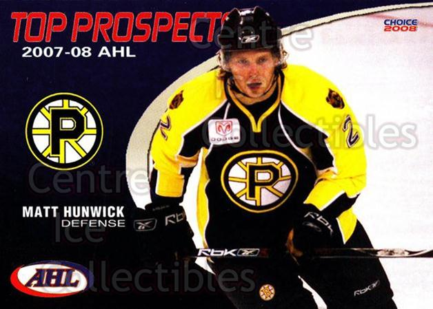2007-08 AHL Top Prospects #35 Matt Hunwick<br/>4 In Stock - $3.00 each - <a href=https://centericecollectibles.foxycart.com/cart?name=2007-08%20AHL%20Top%20Prospects%20%2335%20Matt%20Hunwick...&price=$3.00&code=229606 class=foxycart> Buy it now! </a>