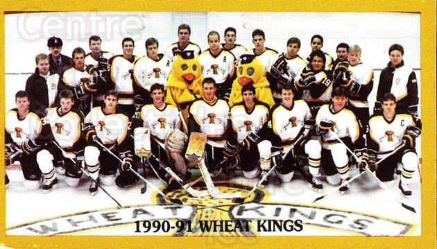 1990-91 Brandon Wheat Kings #8 Brandon Wheat Kings, Team Photo<br/>2 In Stock - $2.00 each - <a href=https://centericecollectibles.foxycart.com/cart?name=1990-91%20Brandon%20Wheat%20Kings%20%238%20Brandon%20Wheat%20K...&price=$2.00&code=229946 class=foxycart> Buy it now! </a>