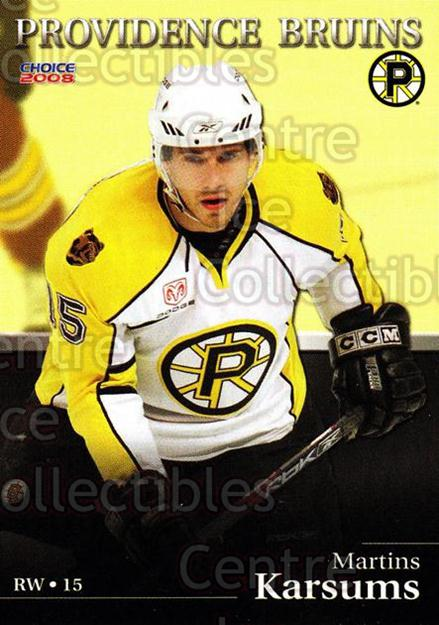 2007-08 Providence Bruins #7 Martins Karsums<br/>4 In Stock - $3.00 each - <a href=https://centericecollectibles.foxycart.com/cart?name=2007-08%20Providence%20Bruins%20%237%20Martins%20Karsums...&price=$3.00&code=230013 class=foxycart> Buy it now! </a>