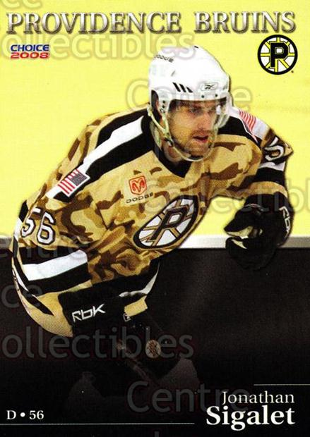 2007-08 Providence Bruins #18 Jonathan Sigalet<br/>7 In Stock - $3.00 each - <a href=https://centericecollectibles.foxycart.com/cart?name=2007-08%20Providence%20Bruins%20%2318%20Jonathan%20Sigale...&price=$3.00&code=230024 class=foxycart> Buy it now! </a>